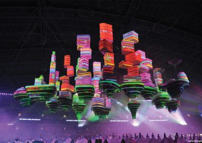 世界最大級 リアルタイム3Dプロジェクションマッピング シンガポール建国記念イベント